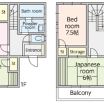各部屋広めの軽量鉄骨造のお家です。1階の和室が南面にあり、ゆったりとできる嬉しい空間です。(間取)