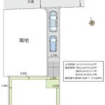 土地面積49坪あり。通路部分はT字路向かいにあり、幅員2.7mのため駐車も楽々です。(区画図)