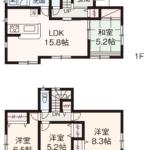 家事動線を考慮した使いやすい間取です。全室南向きの明るいお家です♪(間取)